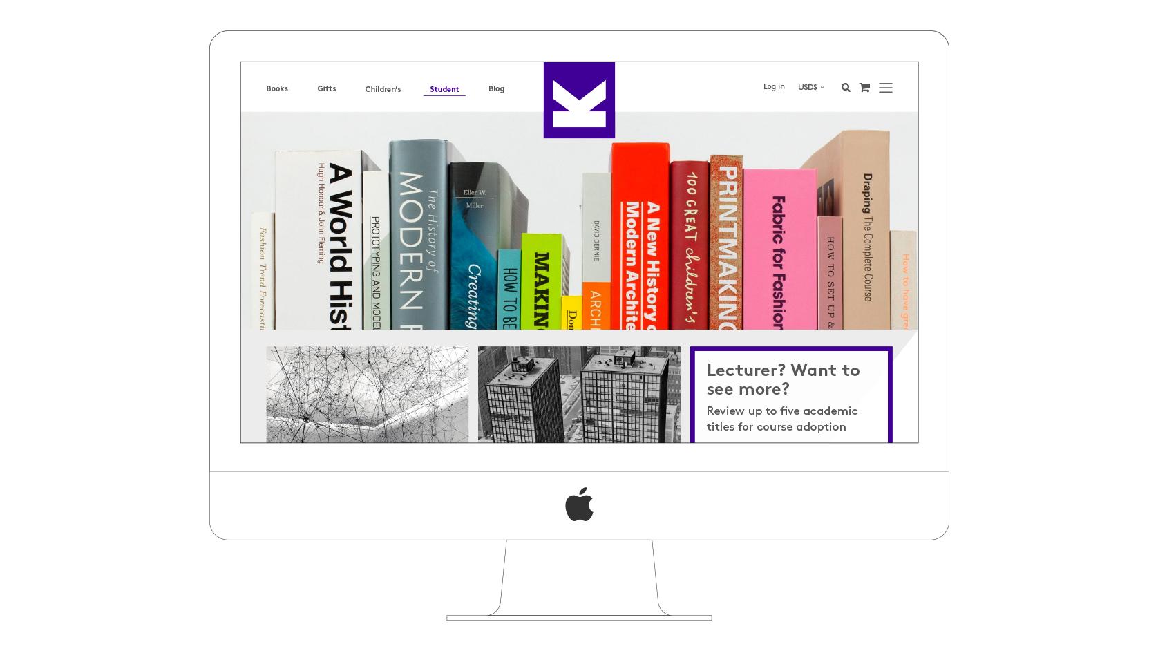 Laurence King website desktop visual student section